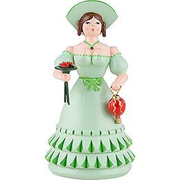 Biedermeierfrau in grün mit Blumen und Tasche - 11 cm