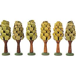 Blattbäume, 6-teilig - 9 cm
