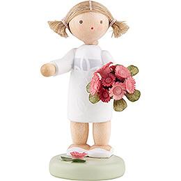 Blumenfee Mädchen mit Blumenstrauß - 5 cm