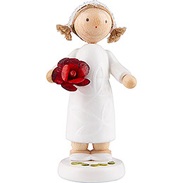 Blumenfee Mädchen mit Rose, rot - 5 cm