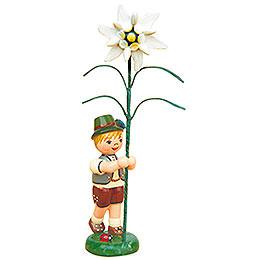 Blumenkind Junge mit Edelweiß - 11 cm