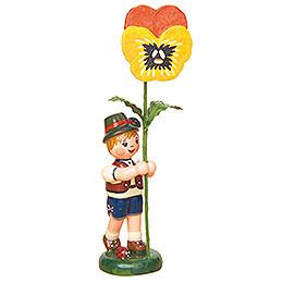 Blumenkind Junge mit Stiefmütterchen - 11 cm