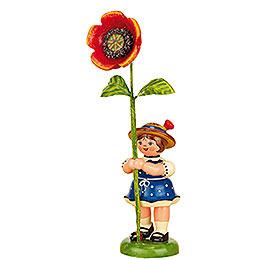 Blumenkind Mädchen mit Mohnblume - 11 cm