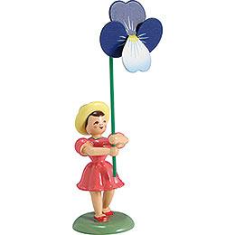 Blumenkind Stiefmütterchen, farbig - 12 cm