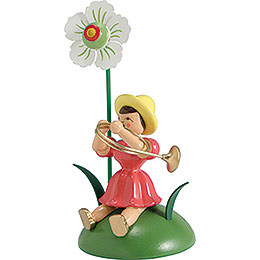 Blumenkind mit Christrose und Waldhorn sitzend - 12 cm