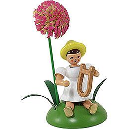Blumenkind mit Chrysantheme und Lyra sitzend - 12 cm