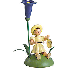 Blumenkind mit Enzian und Gong sitzend - 12 cm
