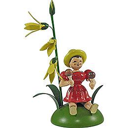 Blumenkind mit Forsythie und Rumbakugel sitzend - 12 cm