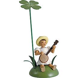 Blumenkind mit Klee und Banjo sitzend - 12 cm
