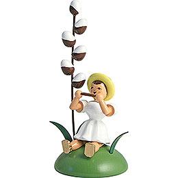 Blumenkind mit Maikätzchen und Mundharmonika sitzend - 12 cm