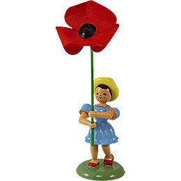 Blumenkind mit Mohnblume - 12 cm