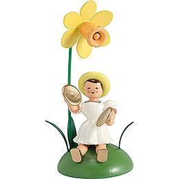 Blumenkind mit Narzisse und Becken sitzend - 12 cm