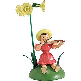 Blumenkind mit Primel und Violine sitzend - 12 cm