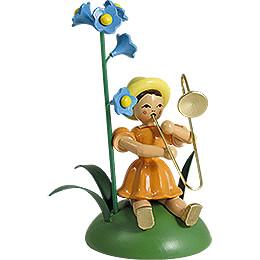 Blumenkind mit Vergissmeinnicht und Zugposaune, sitzend - 11 cm
