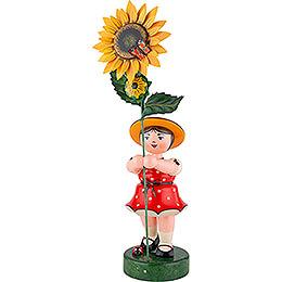 Blumenmädchen mit Sonnenblume, rot - 53 cm