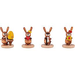 Bunnies - 4 pcs. - Egg, Heart, Grandpa and Flower - 5 cm / 2 inch