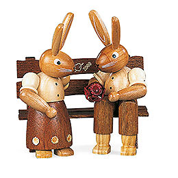 Bunny Couple Sitting - 9 cm / 3.5 inch