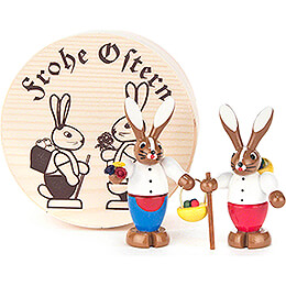 Bunny Couple colored in Wood Chip Box - 4 cm / 1.6 inch