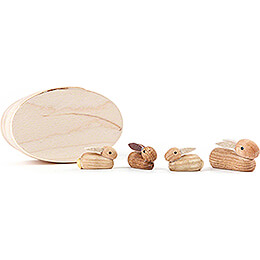Bunny Family natural in Wood Chip Box - 3 cm / 1.2 inch
