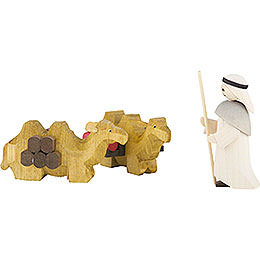 Camel Herder and lying Camels, Set of Three, Stained - 7 cm / 2.8 inch