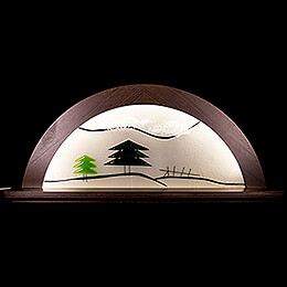 Candle Arch - Bog Oak with Glas and Green Fir Tree - 79x14x35 cm / 31x5.5x14 inch