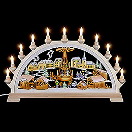 Candle Arch - Christmas Market with Pyramid, Colored - 65x40 cm / 26x17.5 inch