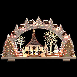 Candle Arch - Church of Seiffen with Carolers - 53x31x4,5 cm / 21x8x1.8 inch