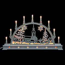 Candle Arch - Erzgebirge Landscape with Base - 78x45 cm / 31x18 inch
