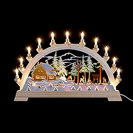 Candle Arch - Forester's House with Figures, Colored - 65x40 cm / 26x17.5 inch