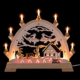 Candle Arch - House and Snowmen - 48 cm / 18.9 inch