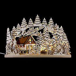 Candle Arch - Mountain Cabin Handpainted Brown - 62x39 cm / 24.5x15 inch