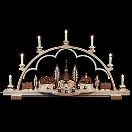 Candle Arch - Seiffen Village Natural Wood, 120V - 80x15x43 cm / 31.5x6x17 inch
