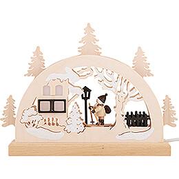 Candle Arch - Skiing Santa - 23x15 cm / 9.1x5.9 inch