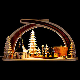 Candle Arch - Solid Wood Seiffen Church with Carolers - 45x30 cm / 17.7x11.8 inch