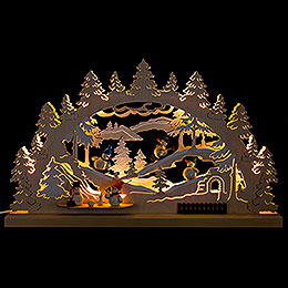 Candle Arch - Winter Scene Snowman - 62x33 cm / 24.4x13 inch