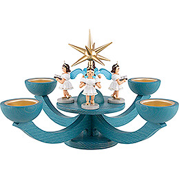 Candle Holder - Advent Blue, with Tea Candle Holder - and Four Standing Angels - 31x31 cm / 12.2x12.2 inch