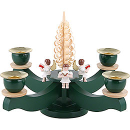 Candle Holder - Advent Four Sitting Angels with Wood Chip Tree - 22x19 cm / 8.7x7.5 inch