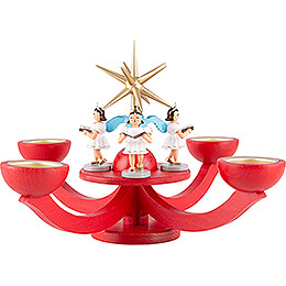 Candle Holder - Advent Red, with Tea Candle Holder - and Four Standing Angels - 31x31 cm / 12.2x12.2 inch