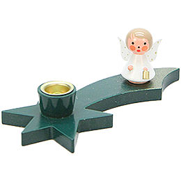 Candle Holder - Angel on Comet - Green - 3 cm / 1.2 inch