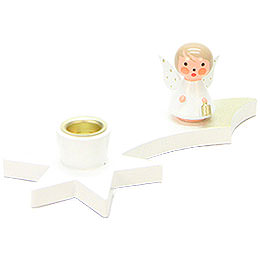 Candle Holder - Angel on Comet - White - 3 cm / 1.2 inch