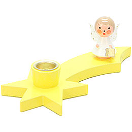 Candle Holder - Angel on Comet - Yellow - 3 cm / 1.2 inch