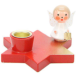 Candle Holder - Angel on Star - Red - 3 cm / 1.2 inch