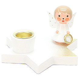 Candle Holder - Angel on Star - White - 3 cm / 1.2 inch