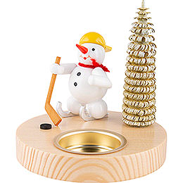 Candle Holder - Snowman Ice Hockey Player - 10 cm / 3.9 inch