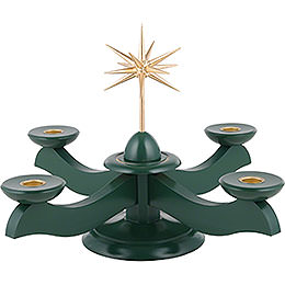 Candle Holder - Width Christmas Star and Advent Green - 29x29x26 cm / 11.4x11.4x10.2 inch