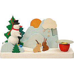 Candle Holder with Snowman and Bunnies - 6 cm / 2.4 inch