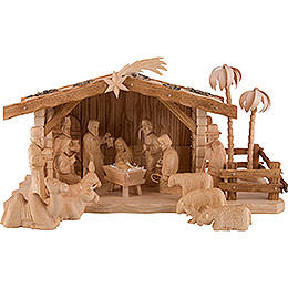 Carved Nativity Set of 19 Pieces with Stable