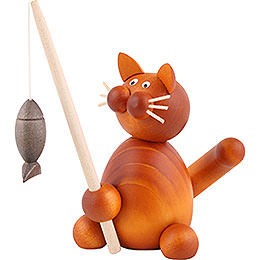 Cat Charlie with Fish - 8 cm / 3.1 inch