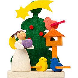 Christbaumschmuck Baum-Engel mit Vogelfütterung - 6 cm