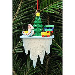 Christbaumschmuck Baum mit Spielzeug auf Eiszapfen - 4,5x7,8 cm